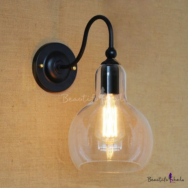 $29 12'' H Matte Black Single Light Wall Lamp with Clear Glass Shade