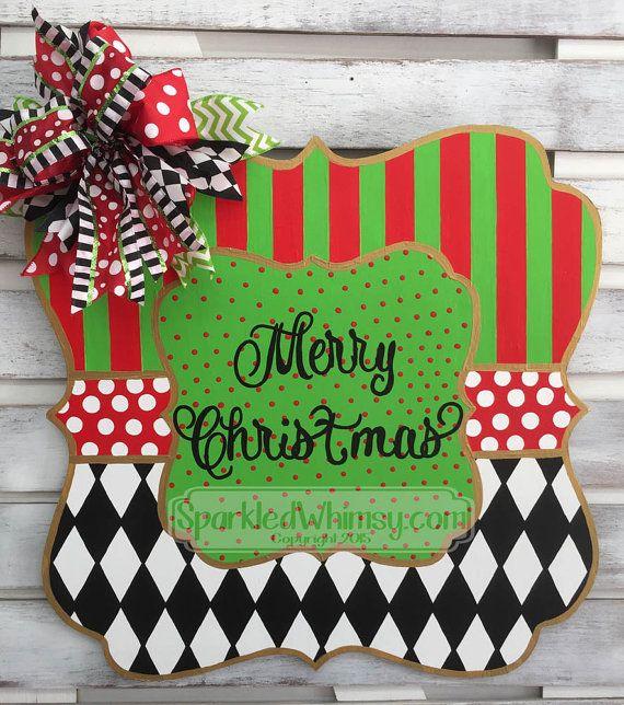 Christmas Door Hanger: Monogrammed Welcome Sign; Harlequin Door Decoration; MacKenzie Childs Inspired Holiday Door Hanger