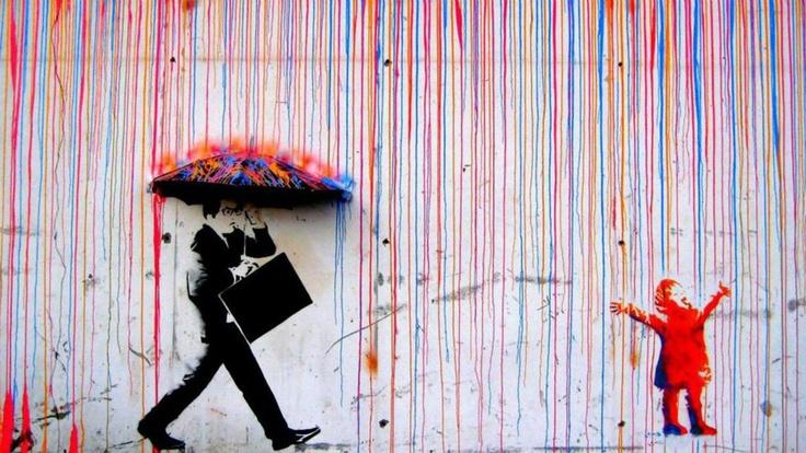 By Banksy - Rainbow RainColors, Graffiti, Growing Up, Rainbows, Street Art, Children, Umbrellas Art, Norway, Streetart