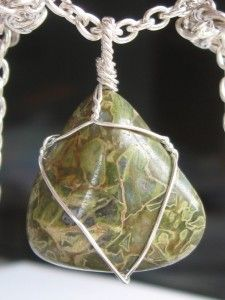 GIVEAWAY!!! Jasper pendant wire wrapped in sterling silver