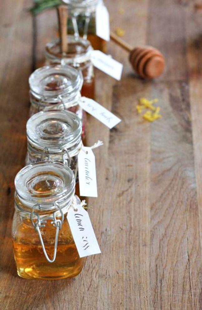 These mini honey jars make adorable wedding favors.