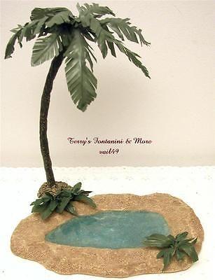 """Fontanini Italia 5"""" 2PC Oasis Estanque con helechos y """"bonificación"""" Palm Tree Natividad 94816 GC"""