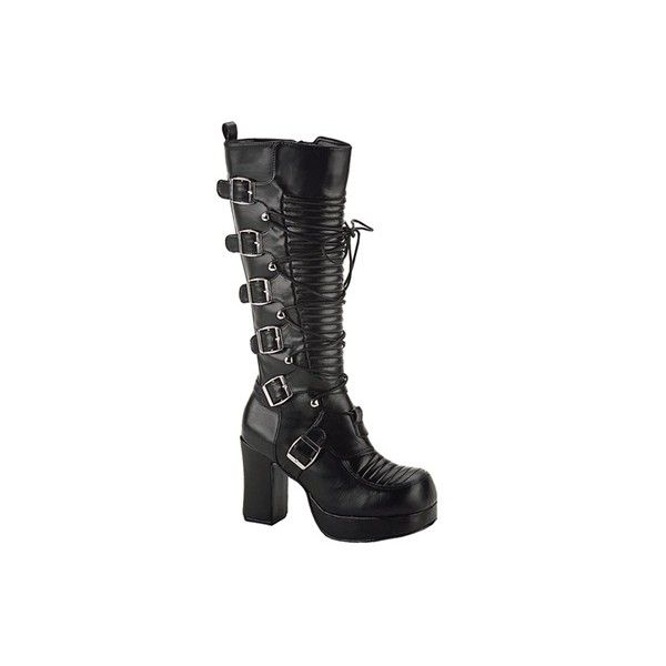 Demonia GOTHIKA-200 Gothic Steampunk Platform Boots - Demonia Shoes ($94) ❤ liked on Polyvore featuring shoes, boots, knee high boots, black knee boots, steampunk boots, black knee high boots and black goth boots