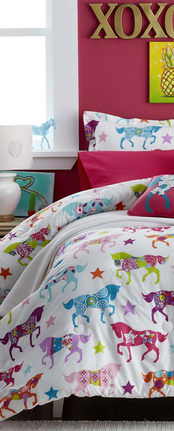 Western bedding for girls - Horse Bedding For Little Cowgirls Who Love Pretty Ponies Girls Western Bedding Collection