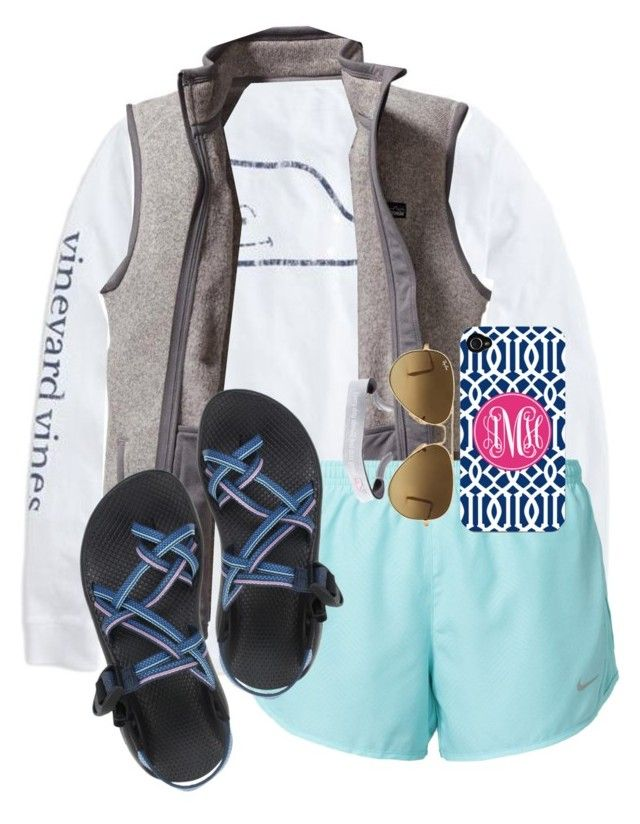 """""""O happy day."""" by maliaackermann ❤ liked on Polyvore featuring Vineyard Vines, Patagonia, NIKE, Chaco and Ray-Ban"""