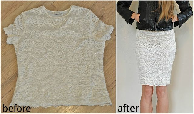 remakes old clothes into something new.: Lace Tops, Old Shirts, Pencil Skirts, Tshirt, Lace Skirt, Lace Shirts, T Shirts, Diy'S Fashion, Diy'S Shirts