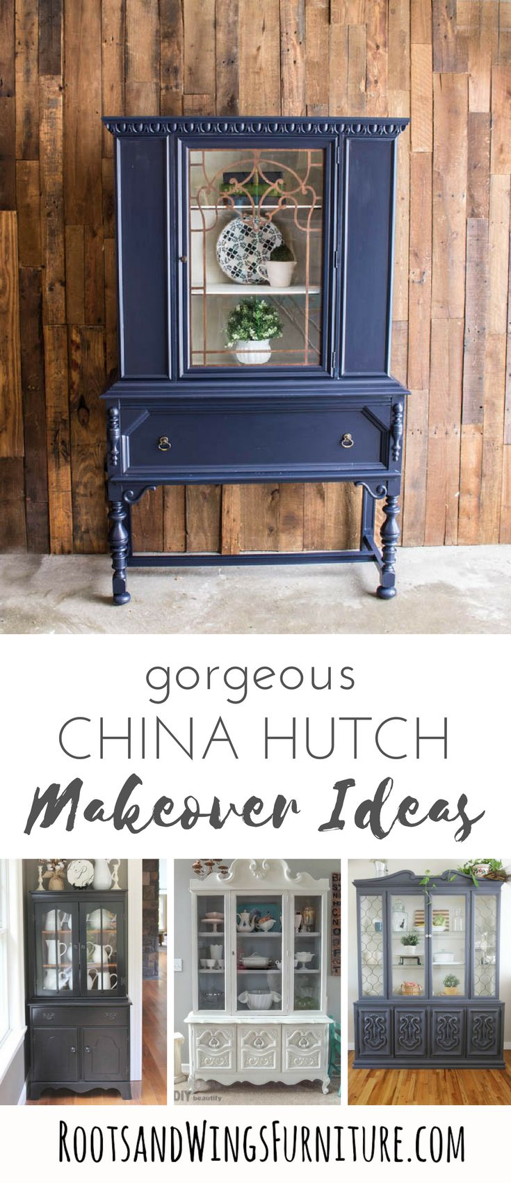 A round up of painted hutches to inspire you to grab a brush and get to work. Painted hutch makeover ideas for your home! #paintedfurniture #hutch #makeover #powerofpaint #rootsandwings #hutchmakeover #farmhouse #painted #paint #diy