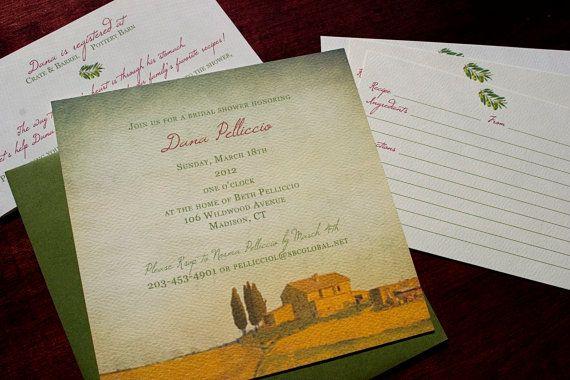 Tuscan Party Invitation  Tuscany by Tulaloo on Etsy