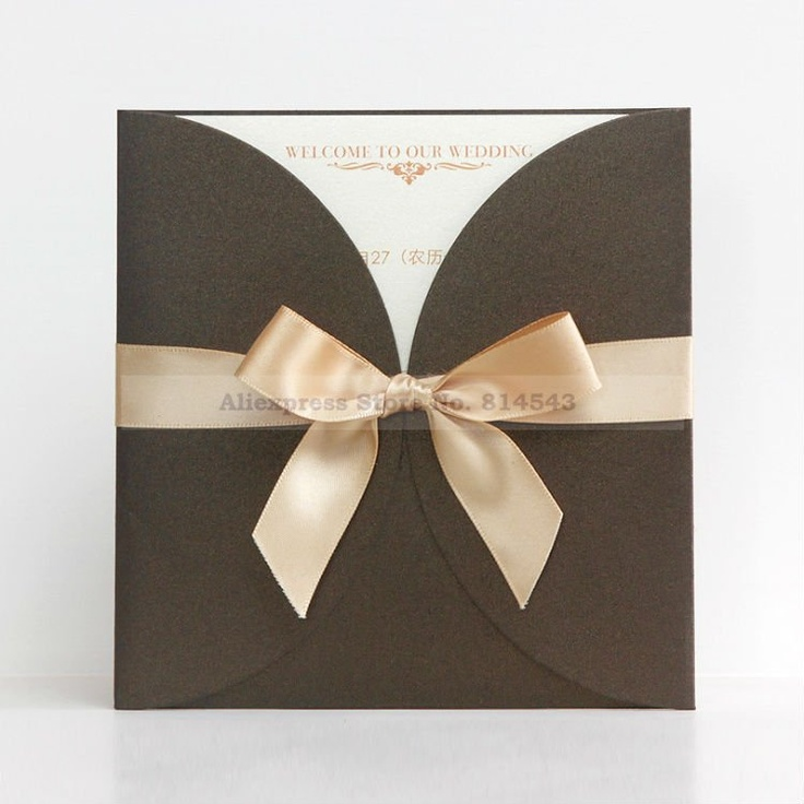 Aliexpress.com : Buy Elegant Wedding Invitation In Chocolate With Champagne  Ribbon (Set Of