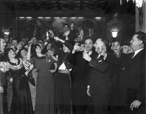 People celebrating the repeal of Prohibition, 1933. Photograph from Chicago Daily News.