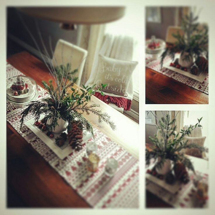 Christmas ideas for your table using fresh greens and pine cones..