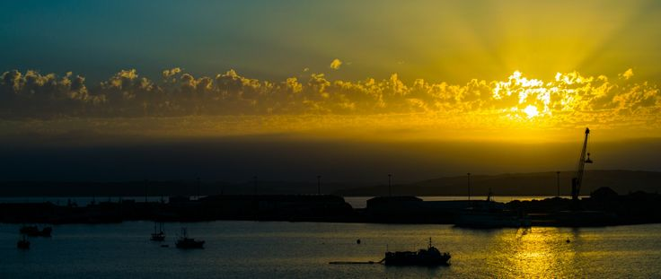 Sunset over the harbor town of Luderitz.