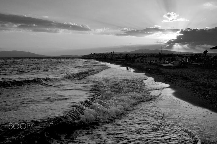 Beach Day  ©ioannapapanikolou via 500px - Black and white capture of a beach day a windy day.