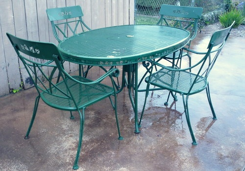 Vintage 1950 S Mid Century 5 Piece Patio Set With Oval Top