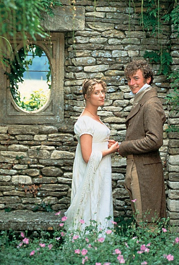 "Susannah Harker as Jane Bennet and and 	Crispin Bonham-Carter as Mr Bingley in the 1995 television mini-series production of Jane Austen's ""Pride & Prejudice."""