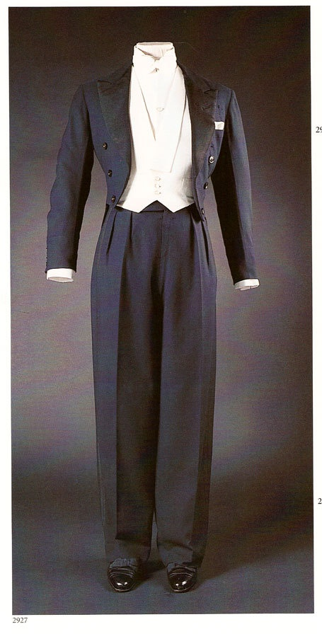 A midnight blue worsted formal evening dress suit, 1937. Jacket by Scholte of London, trousers by Forster & Son.