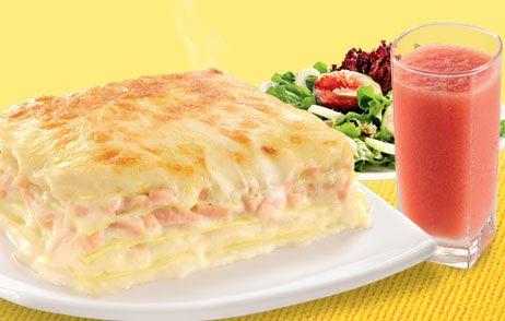 Lasanha de peito de peru e queijo ao molho branco | Aves > Receitas de Peru | Receitas Gshow