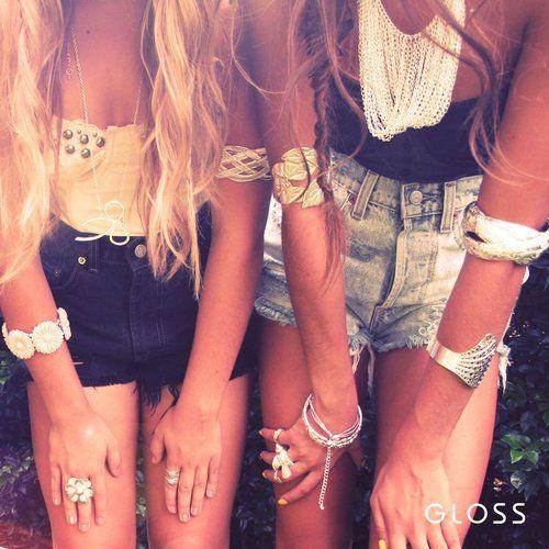 ///: Hipster Fashion, Best Friends, Style, Bestfriends, Outfit, Boho Jewelry, Highwaist, Summertime, High Waist Shorts