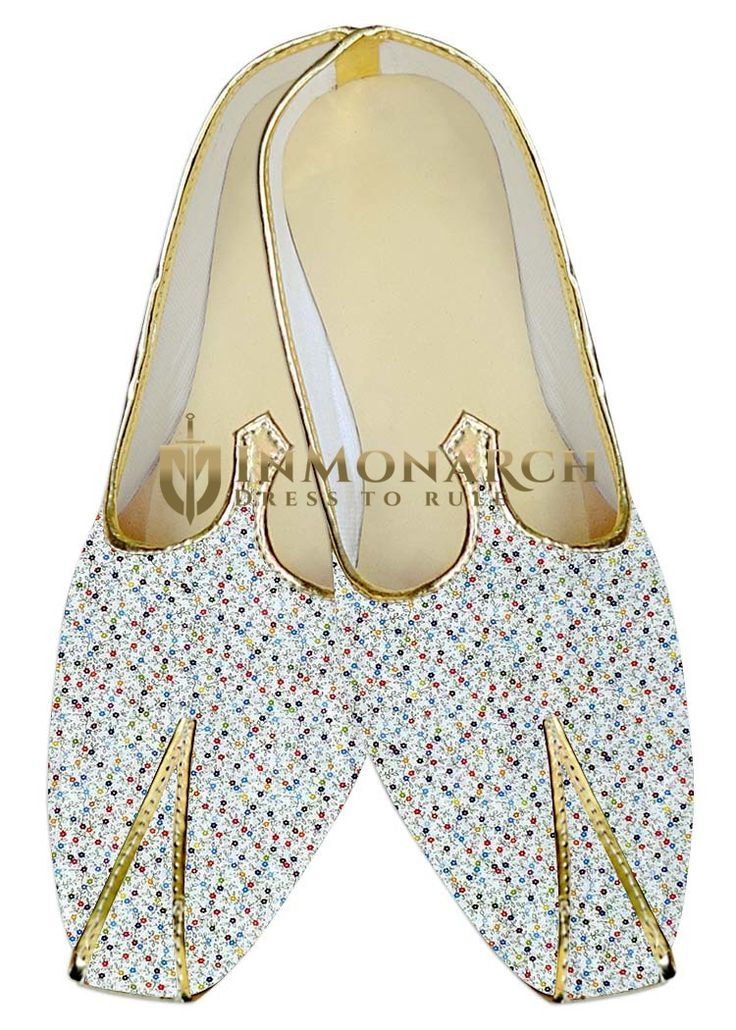 Mens Designer Printed Cream Color And Golden Piping Wedding Shoes Made From Cotton Fabric
