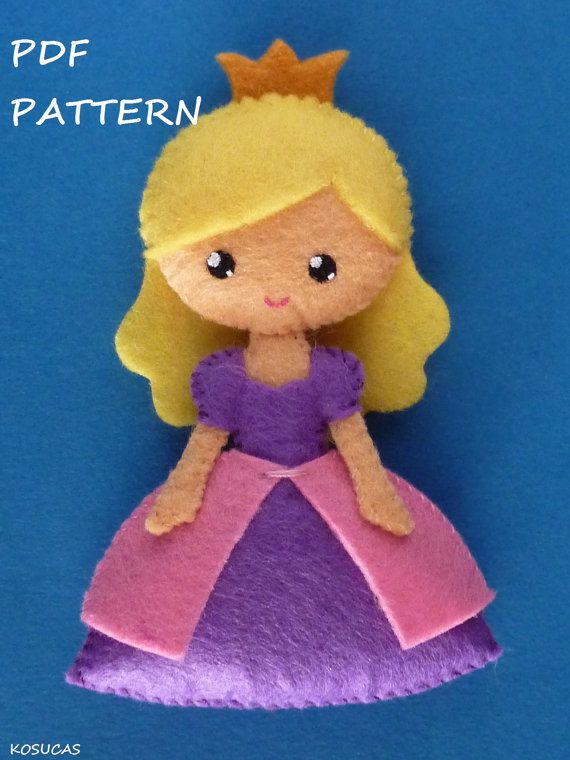 PDF sewing pattern to make a small felt princess. by Kosucas