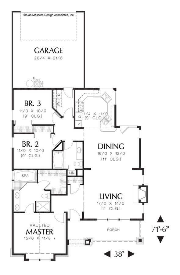 Best Floor Plans Under Sq Ft Images On Pinterest House - Craftsman style narrow house plans