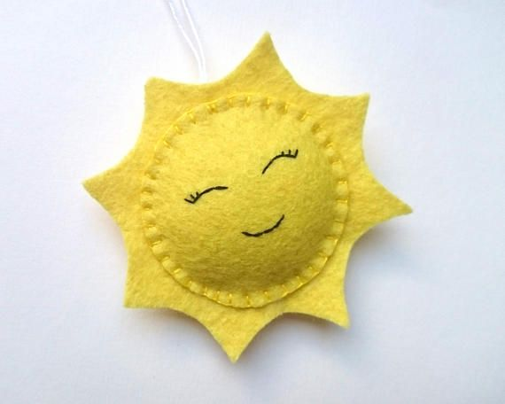 Felt SUN ornament home decoration for kids room smiling