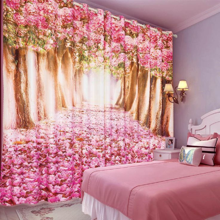Beautiful Pink Fancy Flower Curtains For Girls Bedroom Curtains For Your Bedrooms Beautiful Bed In 2020 Girls Bedroom Curtains Floral Curtains Colorful Curtains
