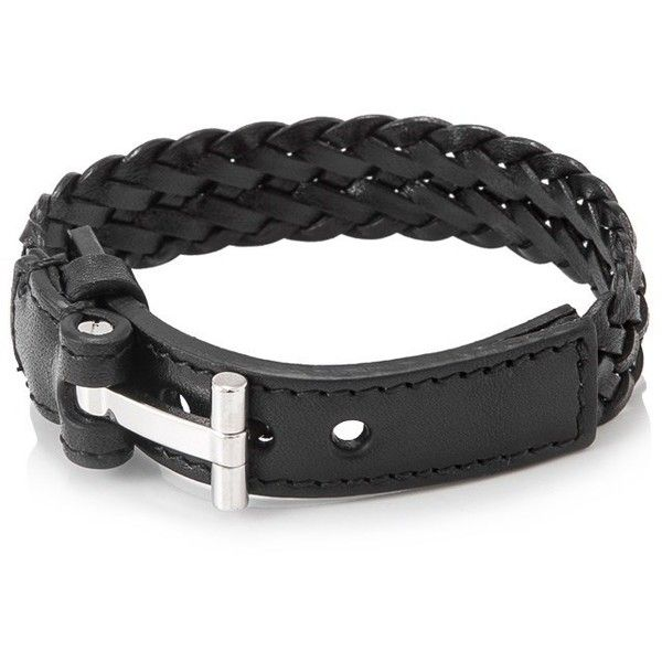 Tom Ford T Belt Braided Bracelet (€310) ❤ liked on Polyvore featuring men's fashion, men's jewelry, men's bracelets, black, mens leather braided bracelets and mens woven bracelets