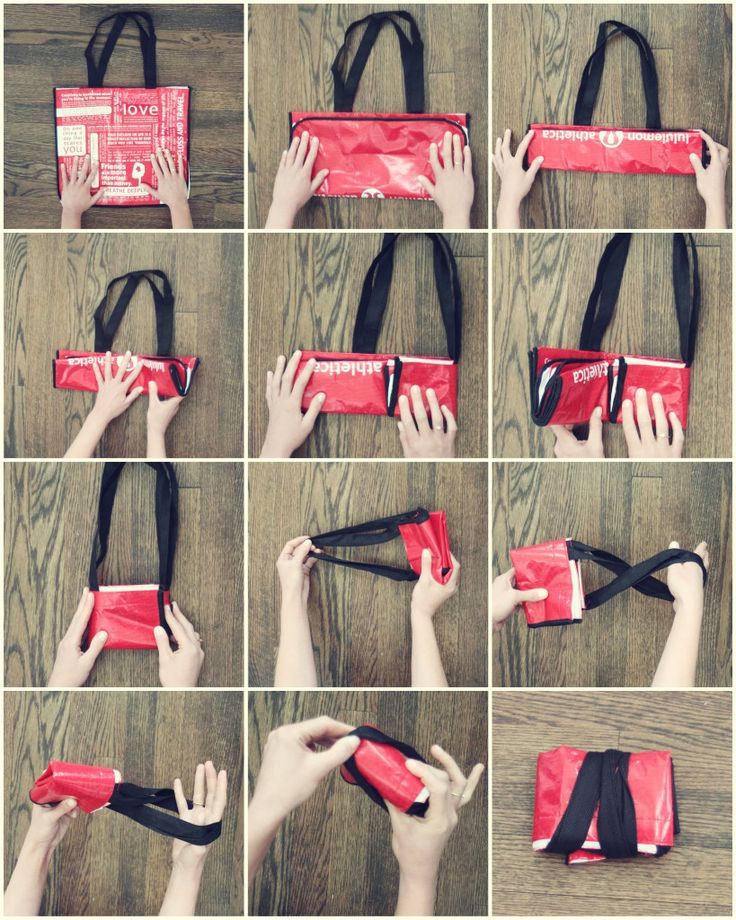 12 steps to folding reusable bag. This has become a regular part of our grocery routine for the past month.