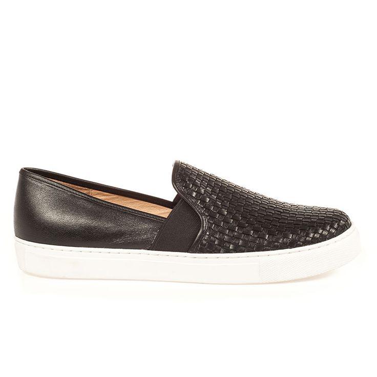 BOTTEGA Black Woven Leather Sneaker - $130.00