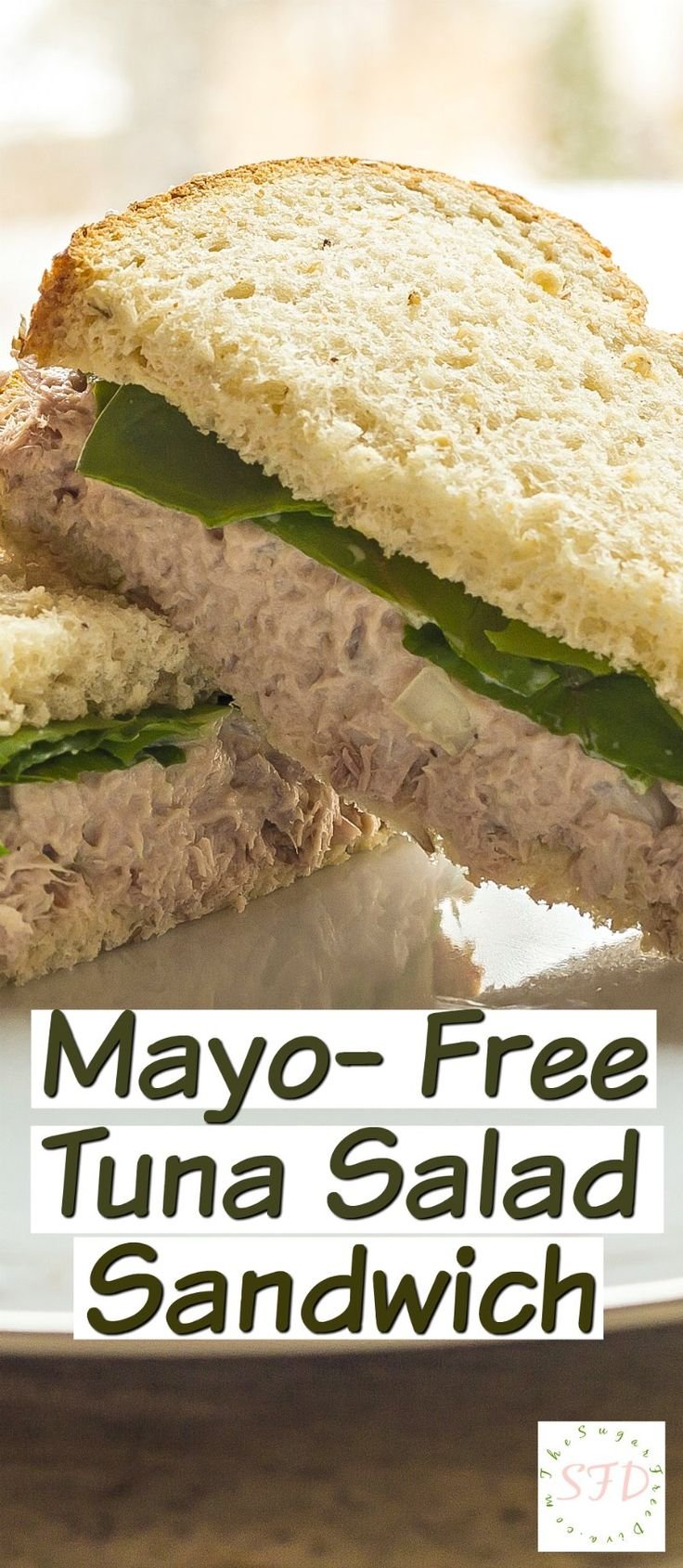 Mayonnaise Free Tuna Salad Sandwich- love the added protein and fewer fat calories in this recipe