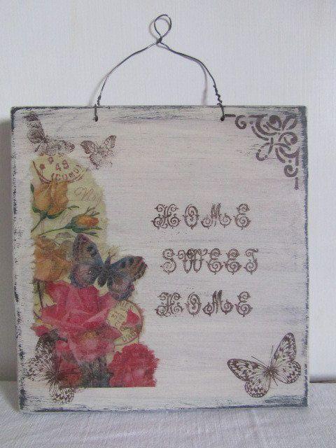 """Targa shabby in legno """"Home sweet home"""", by ♥La casa di Gaia♥, 10,00 € su misshobby.com"""