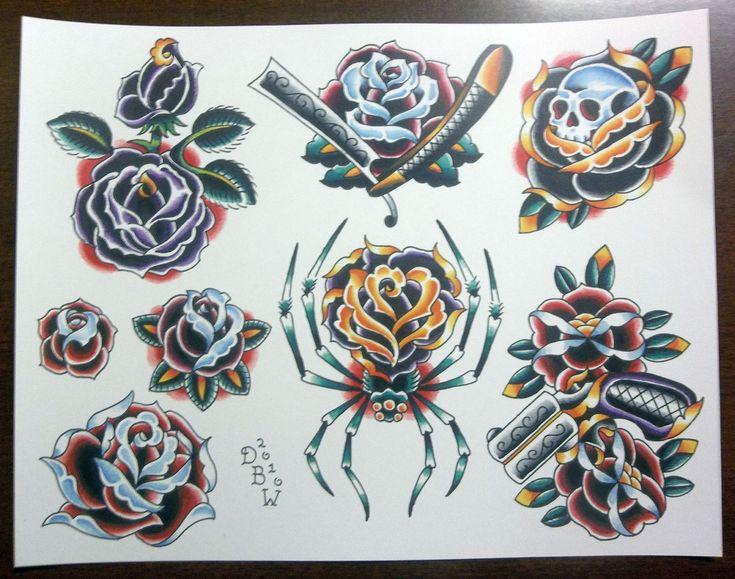 Traditional Tattoo Flash | Roses Traditional Tattoo Flash Sheet by DerekBWard on Etsy