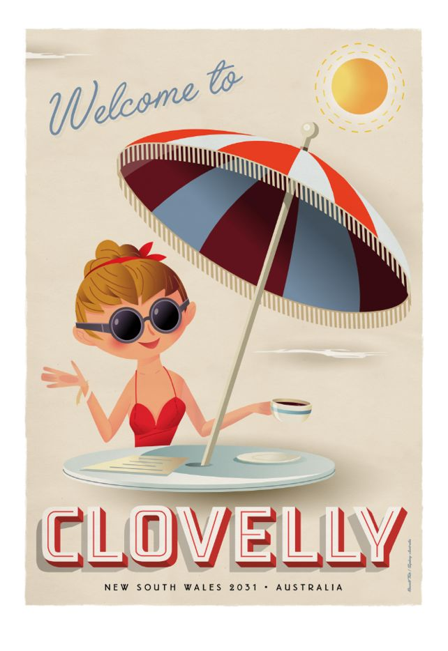 """""""Welcome to Clovelly"""" Travel poster. 70 x 100cm available from: info@russelltate.com"""