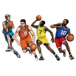 Decoratie basketball team cutouts -  Vier decoraties van basketbal spelers. Afmeting: 50cm. Leuk als decoratie voor een thema feest of verjaardag, maar ook leuk voor de (kinder) slaapkamer!