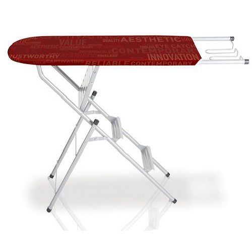 Ironing Board Ladder Price: R899.95  3 step ladder. Ironing surface size: 96 x 34cm. Steel mesh top with replaceable cover. Steel frame. Wire iron rest. Max weight : 100kg.