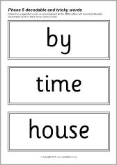 Phase 5 decodable and tricky word cards - black & white (SB10567) - SparkleBox