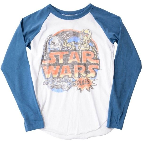 Junk Food Star Wars Logo Long Sleeve T-Shirt White ($37) ❤ liked on Polyvore featuring tops, t-shirts, white cotton t shirts, white long sleeve t shirt, crew neck t shirt, white tee and cotton tee