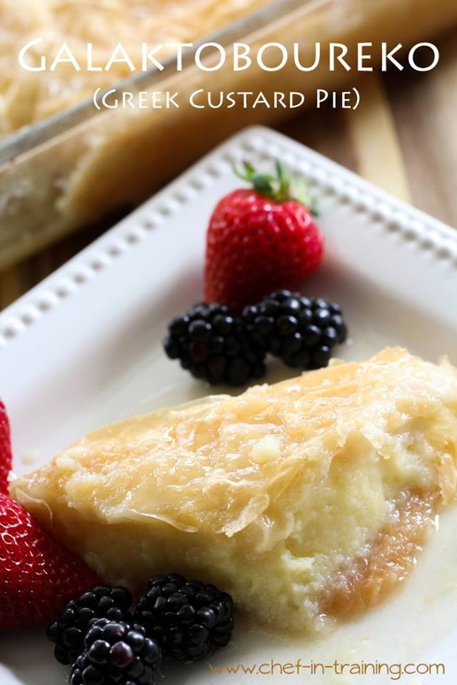 "Today, I am sharing my Grandma's recipe for Galaktoboureko...aka ""Greek Custard Pie""! It comes to you straight from Greece :) This dessert is so delicious! You are going to LOVE it! http://www.chef-in-training.com/2013/06/galaktoboureko-greek-custard-dessert/  Click ""SHARE"" to save this recipe link to your own page!"