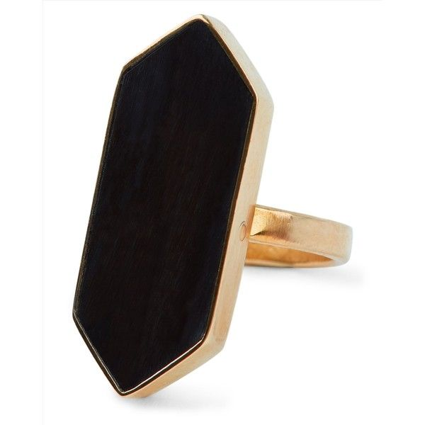 Jaeger Jaeger Soko Trapezoid Horn Ring found on Polyvore featuring jewelry, rings, hand crafted jewelry, brass ring, handcrafted rings, statement rings and horn jewelry