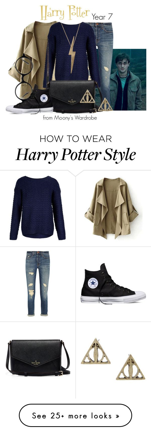 """Harry Potter: Year 7"" by evalupin on Polyvore featuring Radcliffe, J Brand, Edge Only, Muse, Converse, women's clothing, women's fashion, women, female and woman"