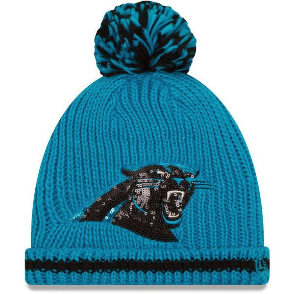 Women's Carolina Panthers New Era Blue Sequin Frost Cuffed Knit Hat... ($26) ❤ liked on Polyvore featuring accessories, hats, nfl hats, blue hat, carolina panthers hat, blue knit hat and carolina panthers knit hat
