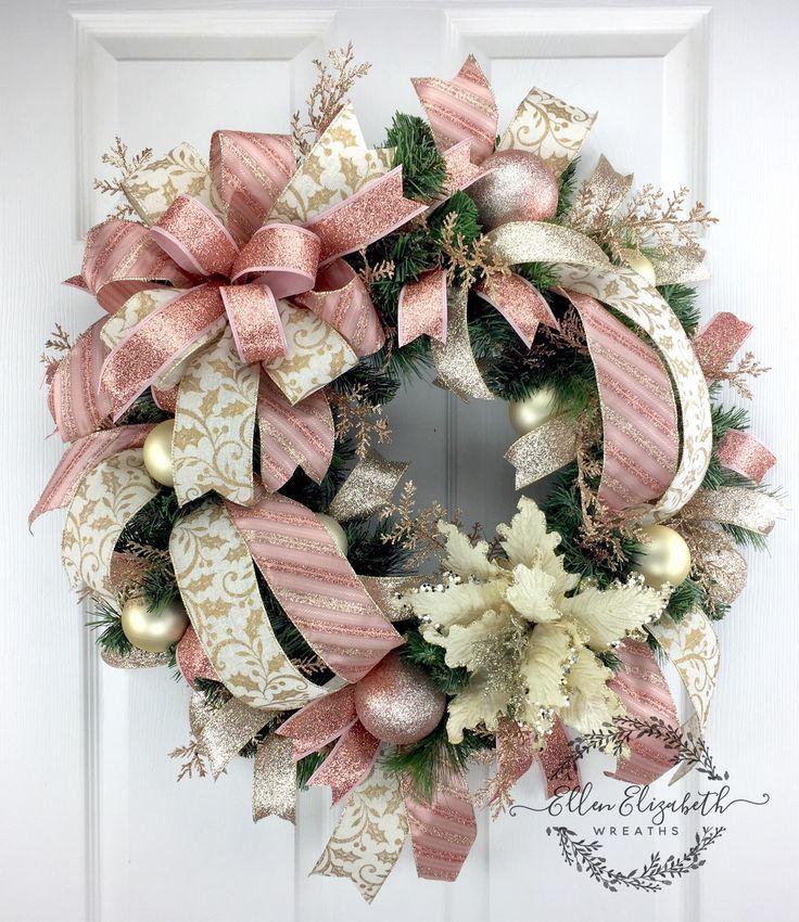 Christmas Wreaths for front door, Elegant Christmas Wreaths, Poinsettia Wreaths, Christmas door wreath, Rose Gold Wreath, Trending wreath by EllenElizabethWreath on Etsy