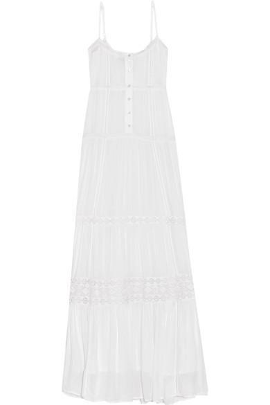 Mollie Lace-trimmed Voile Maxi Dress