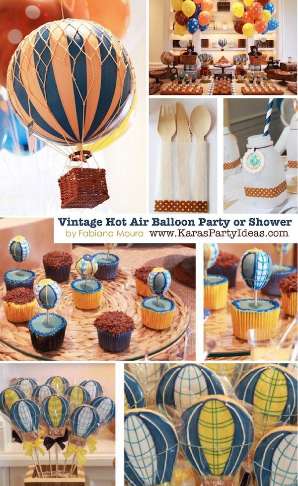 Vintage Hot Air Balloon 1st birthday party or baby shower via Karas Party Ideas KarasPartyIdeas.com #hotairballoon