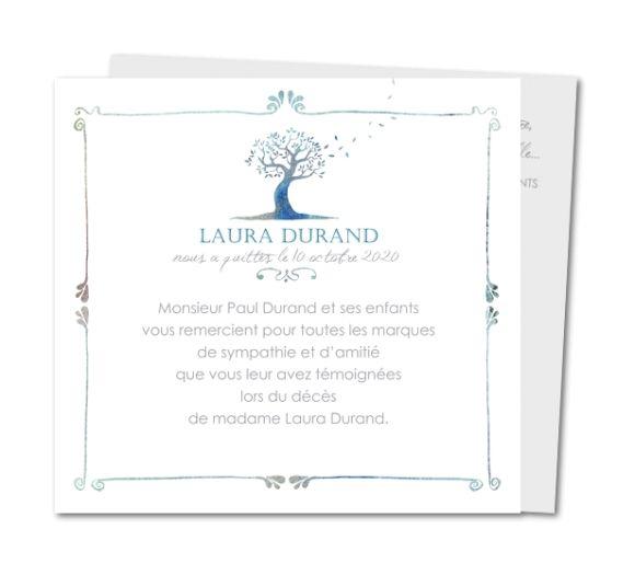Carte de remerciement décès Arbre et envolée de feuilles (WR-783)