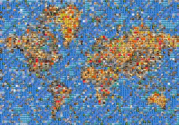 One World  - map made up of pics of flags