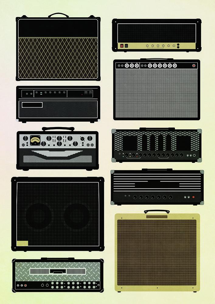 Classic guitar amp poster