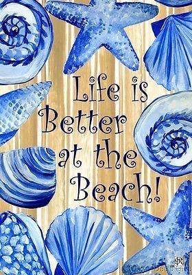 Custom Decor Garden Flag Life is Better at the Beach Ocean Sea Shells NEW