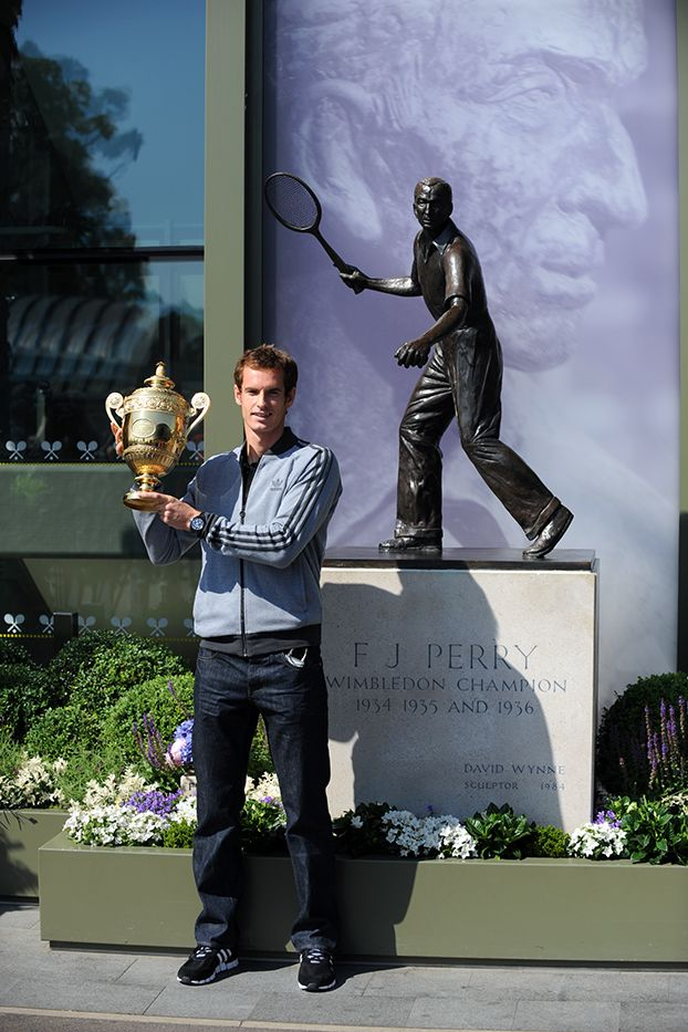 Andy Murray with the Challenge Cup in memory of Fred Perry